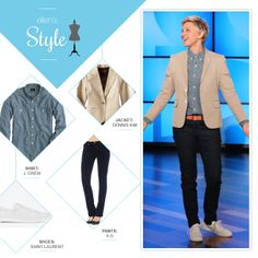 Ellen's Look of the Day: tan blazer, chambray button up shirt, jeans, and white sneakers