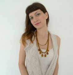Little Men // Statement Necklace in Caramel Brown by Karakoncolos, $15.00