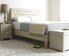 """Our Mimosa """"East Meets West"""" bed is extremely elegant. Each button is hand stitched in India then sewn on to our sturdy headboards in England. Bedroom Lamps, Bedroom Loft, Home Bedroom, Calm Bedroom, Bedroom Ideas, Master Bedrooms, Ottoman Bed, Upholstered Beds, Loaf Beds"""