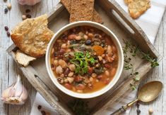 Beans and Greens Soup - Crusty whole-grain rolls and fresh fruit salad pair especially well with this hearty soup. Spinach Stuffed Mushrooms, Stuffed Peppers, Healthy Food Choices, Healthy Recipes, Soup Recipes, Healthy Soup, Healthy Eating, Beef Stew Crockpot Easy, Bean And Vegetable Soup