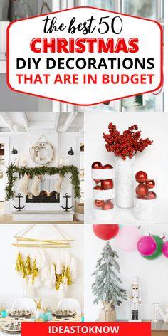 Cheap Christmas Trees, Diy Christmas Decorations For Home, Diy Christmas Lights, Frugal Christmas, Christmas Tree Crafts, Decorating With Christmas Lights, Coastal Christmas, Christmas Centerpieces, Christmas Christmas