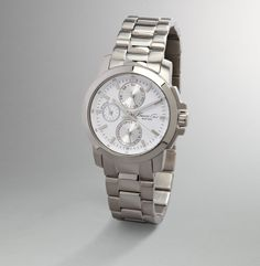 Silver Watch With White Face - Kenneth Cole