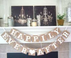 This Happily Ever After banner is the perfect decoration for any wedding reception, couples shower, or bridal shower! Every wedding needs a happily ever after and a happy ending! Just let me know: Letter Color Antiquing accenting on the edges in b Bridal Shower Signs, Bridal Shower Rustic, Bridal Shower Decorations, Reception Decorations, Rustic Wedding, Wedding Ideas, Trendy Wedding, Bridal Shower Banners, Wedding Pictures