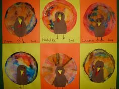 Coffee Filter turkey- Children dye coffee filters with food coloring and water and then add a turkey head pattern. Made these last year, but used washable markers and a spray bottle.  A lot easier on cleanup!