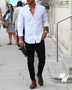 🙂 Basic Looks Tricks that will CHANGE Your Look UP on Style, jeez! White Shirt Outfits, Black Jeans Outfit, Black Jeans Men, Stylish Mens Outfits, Casual Outfits, Fashion Outfits, Casual Blazer, Indian Men Fashion, Mens Fashion Suits