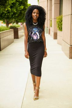 Rottweiler Face T-Shirt + Midi Pencil Skirt