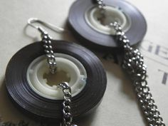 Old School Cassette Tape Earrings Brown Beige por MarinoByMarino