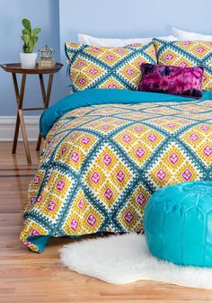 Lively Dreams Duvet Cover Set in Full/Queen. Surrounded by the brilliant, bold hues of this duvet cover set by Karma Living, your slumber is anything but a snooze! #multiNaN