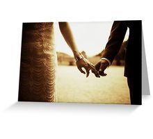 Bride and groom holding hands in sepia - analog 35mm black and white film photo Greeting Card
