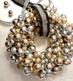 DIY Ornament Wreath #christmas #holiday #wreath #ornaments #gold