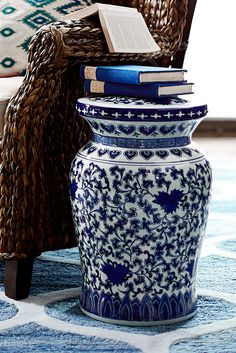 Unique Navy Ceramic Garden Stool