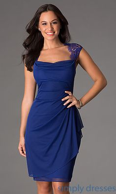 Mother of the Bride Dress - Knee Length Ruched Dress with Lace Detailing at SimplyDresses.com