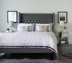 Create a cool and contemporary hotel inspired master bedroom by using sleek, modern pieces of furniture like this beautiful gray upholstered bed with playful pops of gold like these lamps and pineapple pillows from HomeGoods! (Sponsored Pin)