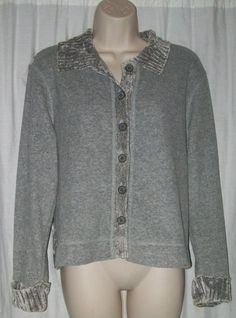 "$18.99   J Jill Super Soft Gray Collared Cardigan Sweater XS 42"" Bust"