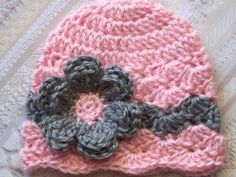 This is so stinkin' cute!!! Crochet Baby Girl Hat by crochethatsbyjoyce, $14.00