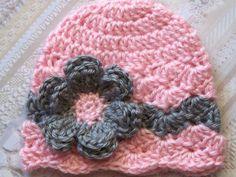 Crochet Baby Hat Newborn Baby Hat Baby Girl by crochethatsbyjoyce