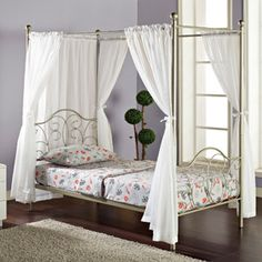 Twin Metal Canopy Bed, Pewter With Curtains