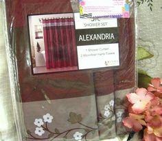 VICTORIA CLASSIC Fabric Shower Curtain ~ BURGUNDY ~ +2 MATCHING HAND TOWELS | eBay