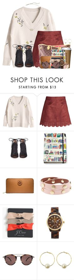 """""""Somewhat stressful day and exams are next week"""" by flroasburn ❤ liked on Polyvore featuring Gianvito Rossi, Kate Spade, Tory Burch, J.Crew, Michael Kors, Oliver Peoples, StyleNanda and Kendra Scott"""
