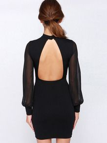 Black Stand Collar Backless Bodycon Dress -SheIn(Sheinside)