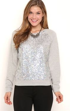 Deb Shops Long Sleeve French Terry Top with Sequins $14.25