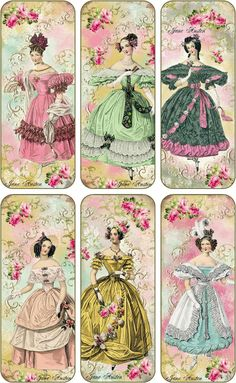 Vintage inspired bookmarks Jane Austen with silk ribbons set of 6
