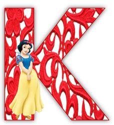 Alfabeto de Blancanieves con letras con arabescos en rojo. | Oh my Alfabetos!
