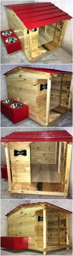 pallets dog hosue with food bowls