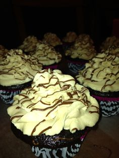 Peanut Butter Delight ~ Chocolate cake with a peanut butter center topped with a decadent peanut butter buttercream frosting drizzled in chocolate ~
