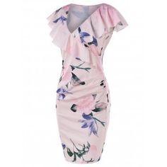 Flounce Collar Sheath Dress - SAKURA PINK XL