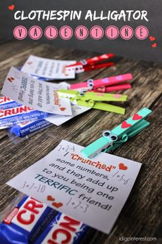 "I Dig Pinterest: Clothespin Alligator ""Crunch"" Valentine with Free Printable"