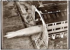 The airship USS Shenandoah ZR-1 leaving its hangar at Lakehurst Naval Air Station in 1923.