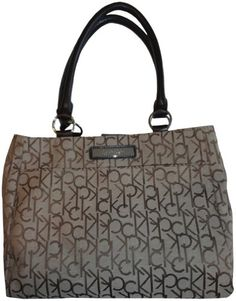 Women's Calvin Klein Purse Handbag Signature Logo Tote Khaki/Brown « Xquisite Beauty