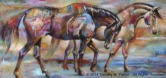 "Abstract Horse Painting, Contemporary Art, ""Ralph and Kyle"" Artist Tim Parker - Art2D Gallery, Modern Art Original Paintings"