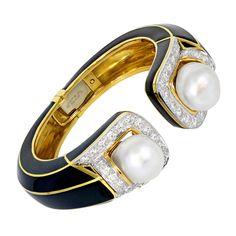 David Webb Enamel Pearl Diamond Bracelet . Circa 20th-21st Century