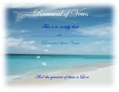 The 16 best Vow Renewal Certificates images on Pinterest | Vow ...