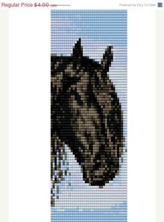 CHRISTMAS SALE Delica beads peyote or loom stitch beading pattern- Horses pattern- cuff bracelet pattern- PDF file pattern- Delica pattern