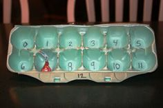 Recycled Egg Carton to help with multiplication Tables.  Throw in the candy and say # multiplied by # you get it = WHAT?