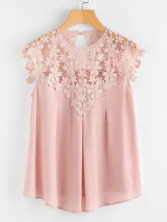 Shop Keyhole Back Daisy Lace Shoulder Shell Top online. SheIn offers Keyhole Back Daisy Lace Shoulder Shell Top & more to fit your fashionable needs. Look Fashion, Fashion Clothes, Fashion Dresses, Womens Fashion, Skirt Fashion, Fashion Styles, Blouse Styles, Blouse Designs, Pink Lace Tops