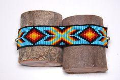 Native American beaded bracelet Geometric by HavvahJewelry on Etsy Loom Bracelet Patterns, Beading Patterns, Collar Indio, Bead Loom Designs, Native American Beading, Seed Bead Bracelets, Colorful Bracelets, Loom Beading, Metal Beads