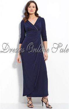 Tropical Sheath Ankle-length V-neck Dark Navy Satin Dress