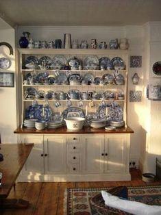 The Dining Room Shop Wonderful bespoke painted dresser Kitchen Dresser, Modern Kitchen Cabinets, Kitchen Decor, Kitchen Shelves, Cupboards, Design Kitchen, Kitchen Ideas, Blue Willow China, Blue And White China