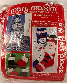 Mary Maxim Holiday Kits Knit Crochet Boots 42039 Needlework Crafts Red Green