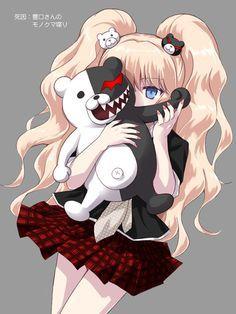 Enoshima Junko from DanganRonpa. The mastermind behind Monocuma, she want everyone in the world to feel nothing but despair. Anime Girl Cute, Kawaii Anime Girl, Anime Art Girl, Anime Love, Anime Chibi, Anime Cosplay, Manga Combat, Manga Xd, Danganronpa Junko
