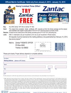 Pinned January 5th: $11 package of #Zantac free via snail mail #Rebate #coupon via The #Coupons App