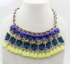Shop for on Etsy, the place to express your creativity through the buying and selling of handmade and vintage goods. Fashion Necklace, Fashion Jewelry, Acrylic Beads, Blue Crystals, Jewelery, Trending Outfits, Unique Jewelry, Chain