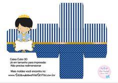 Caixa Cubo 3D Príncipe Azul Marinho