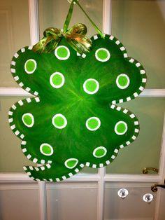 Sassy Shamrock - Green and White - Burlap Door Hanger. $35.00, via Etsy.