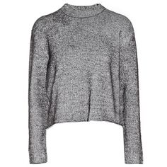 T by Alexander Wang Ribbed-knit sweater found on Polyvore featuring tops, sweaters, grey, boxy tops, grey top, gray sweaters, ribbed knit sweater and ribbed knit top