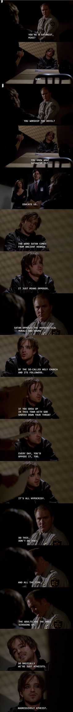 Aaron Paul is an eyeliner-wearing Satanist on an episode of Criminal Minds. He explains what Satanism really is.